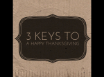 3 keys to a Happy Thanksgiving!